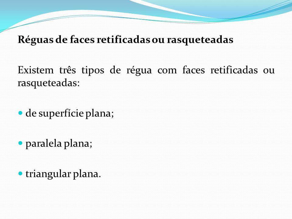 Régua de superfície plana Confeccionada de ferro fundido, é usada para determinar as partes altas de superfícies planas que vão ser rasqueteadas.