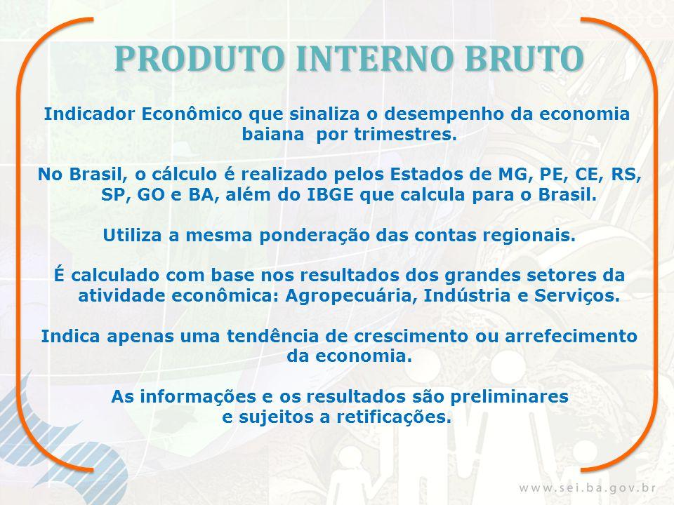 PRODUTO INTERNO BRUTO Indicador Econômico que sinaliza o desempenho da economia baiana por trimestres. No Brasil, o cálculo é realizado pelos Estados