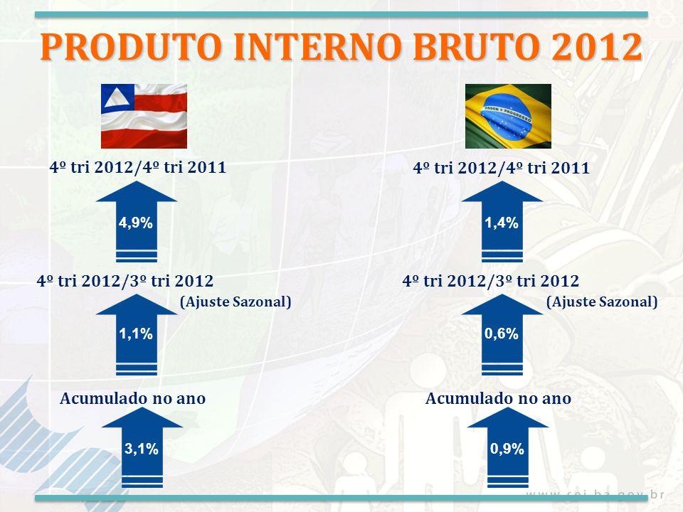 VA da Agropecuária 4º trimestre de 2012/2011 Fonte: LSPA/IBGE previsão de safra 2012 (Dezembro/2012) -9,2% PRODUÇÃO FÍSICA Algodão -20,1% Soja -8,5% Cana de açúcar 20,6% Milho -8,1% Feijão -44,4% Cacau 2,5% Mandioca -23% Café -7,4% Grãos -13,5%