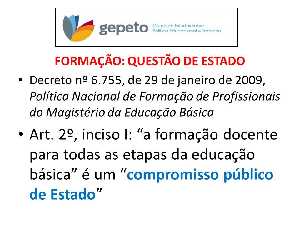 FORMAÇÃO: QUESTÃO DE ESTADO • Decreto nº 6.755, de 29 de janeiro de 2009, Política Nacional de Formação de Profissionais do Magistério da Educação Bás