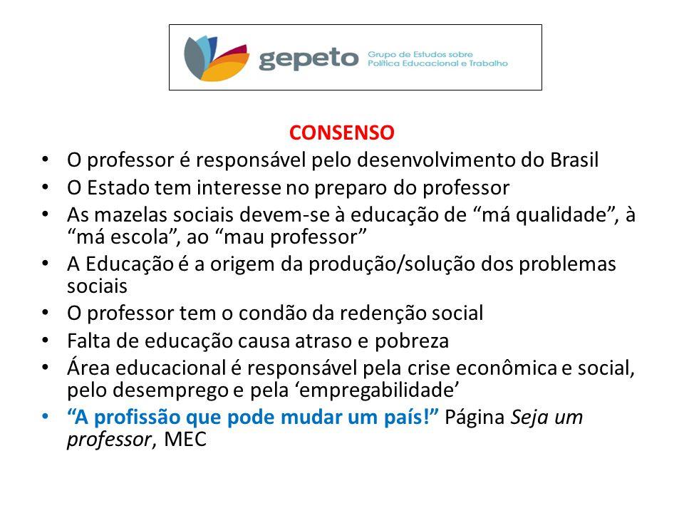 CONSENSO • O professor é responsável pelo desenvolvimento do Brasil • O Estado tem interesse no preparo do professor • As mazelas sociais devem-se à e