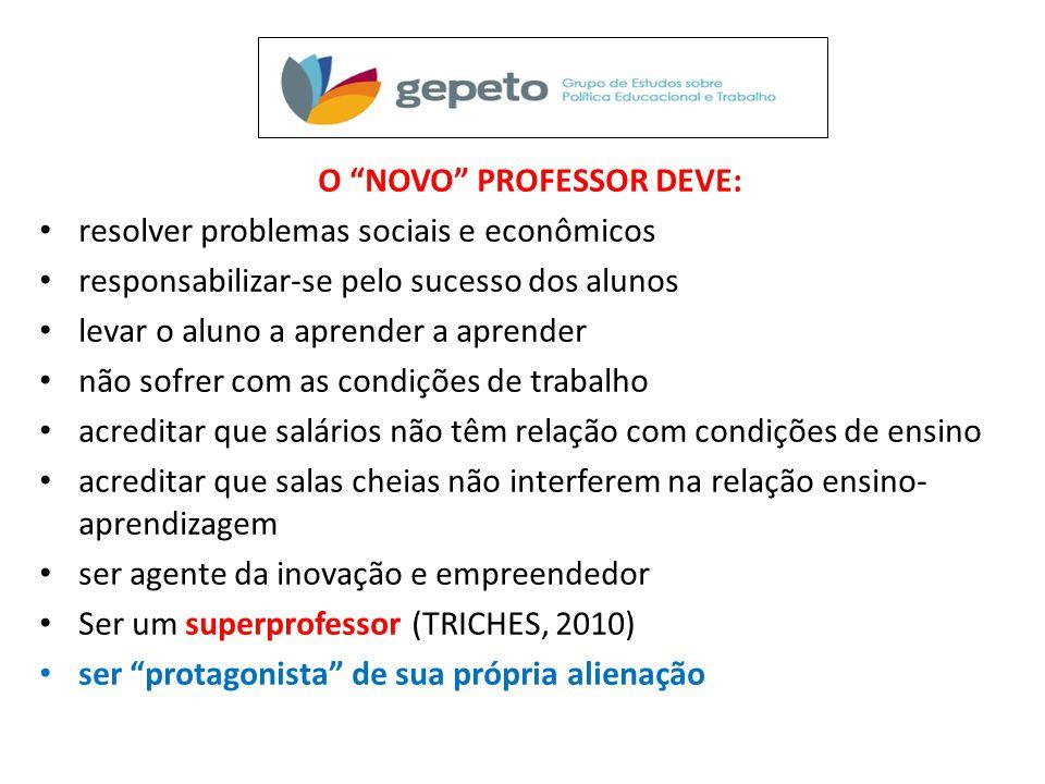 """O """"NOVO"""" PROFESSOR DEVE: • resolver problemas sociais e econômicos • responsabilizar-se pelo sucesso dos alunos • levar o aluno a aprender a aprender"""