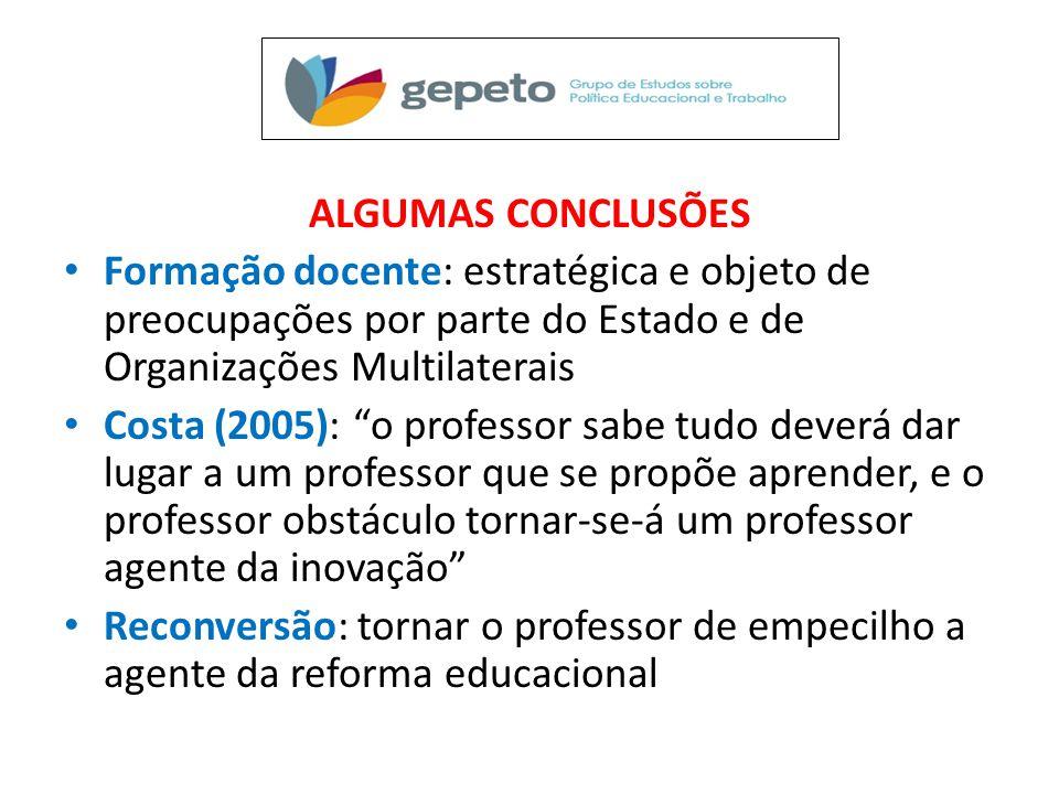 """ALGUMAS CONCLUSÕES • Formação docente: estratégica e objeto de preocupações por parte do Estado e de Organizações Multilaterais • Costa (2005): """"o pro"""