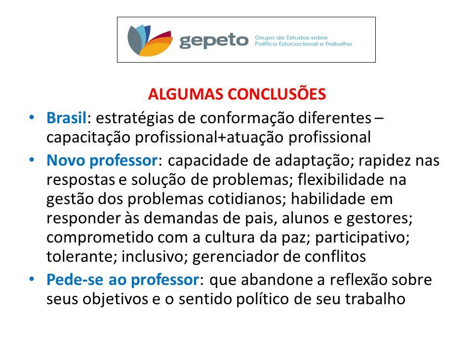 ALGUMAS CONCLUSÕES • Brasil: estratégias de conformação diferentes – capacitação profissional+atuação profissional • Novo professor: capacidade de ada