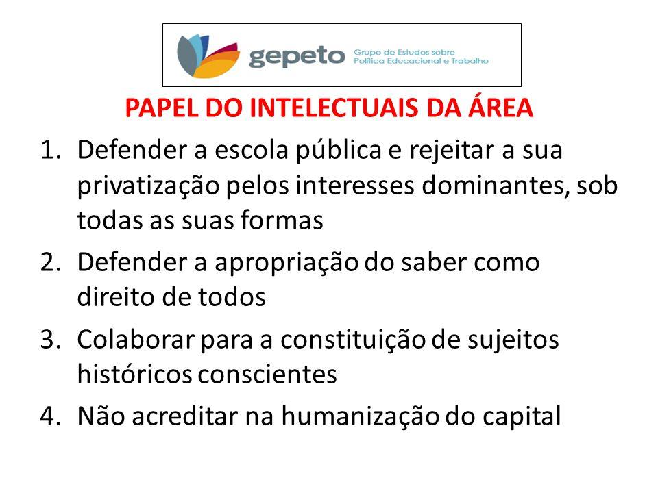 PAPEL DO INTELECTUAIS DA ÁREA 1.Defender a escola pública e rejeitar a sua privatização pelos interesses dominantes, sob todas as suas formas 2.Defend