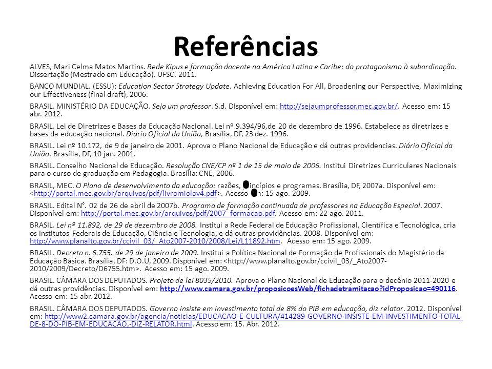 Referências ALVES, Mari Celma Matos Martins. Rede Kipus e formação docente na América Latina e Caribe: do protagonismo à subordinação. Dissertação (Me