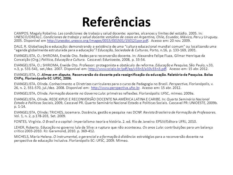 Referências CAMPOS. Magaly Robalino. Las condiciones de trabajo y salud docente: aportes, alcances y límites del estúdio. 2005. In: UNESCO/OREALC. Con