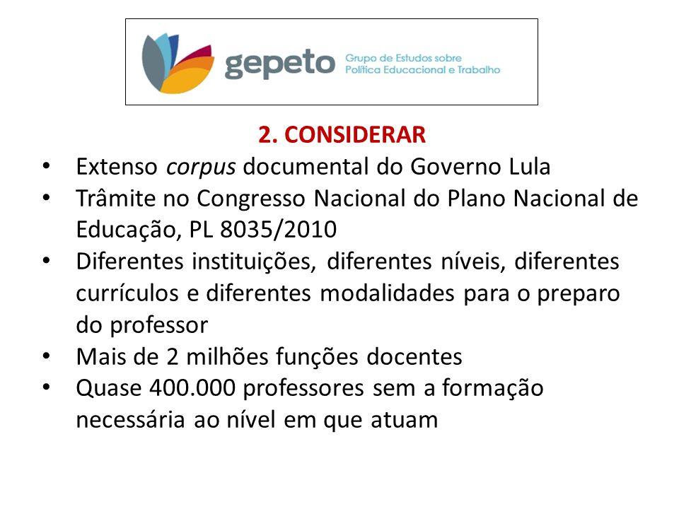 2. CONSIDERAR • Extenso corpus documental do Governo Lula • Trâmite no Congresso Nacional do Plano Nacional de Educação, PL 8035/2010 • Diferentes ins