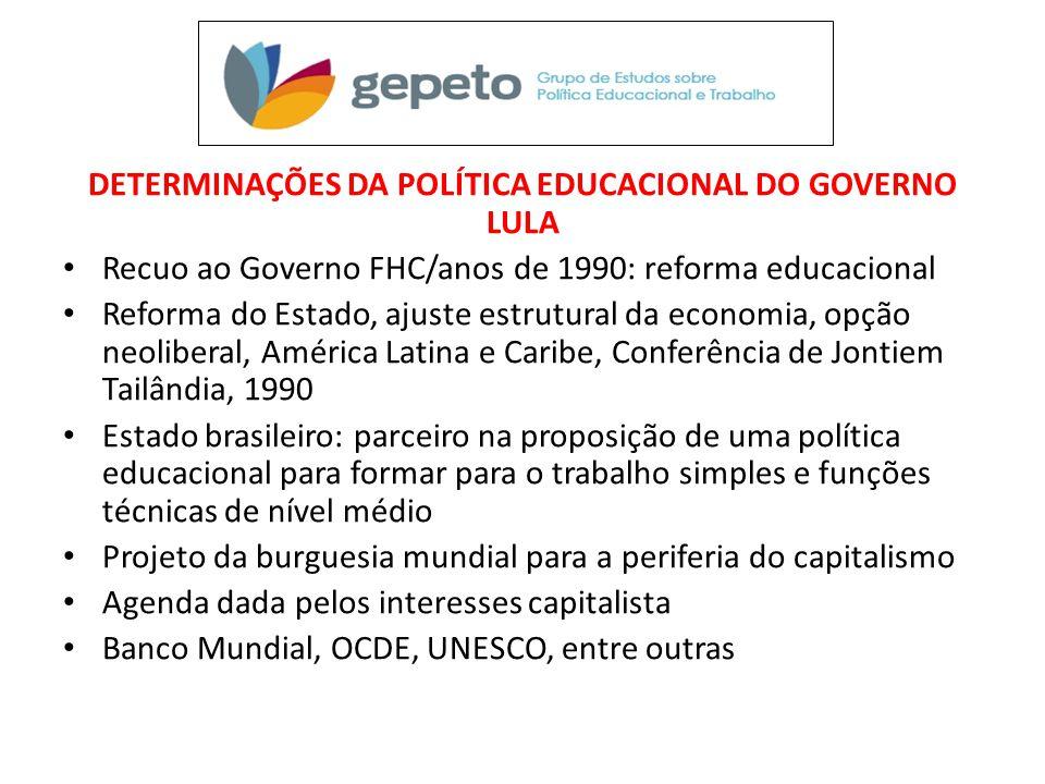 DETERMINAÇÕES DA POLÍTICA EDUCACIONAL DO GOVERNO LULA • Recuo ao Governo FHC/anos de 1990: reforma educacional • Reforma do Estado, ajuste estrutural