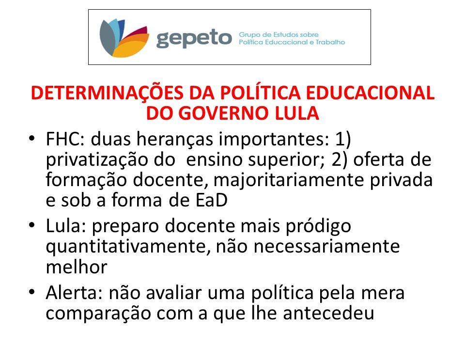 DETERMINAÇÕES DA POLÍTICA EDUCACIONAL DO GOVERNO LULA • FHC: duas heranças importantes: 1) privatização do ensino superior; 2) oferta de formação doce
