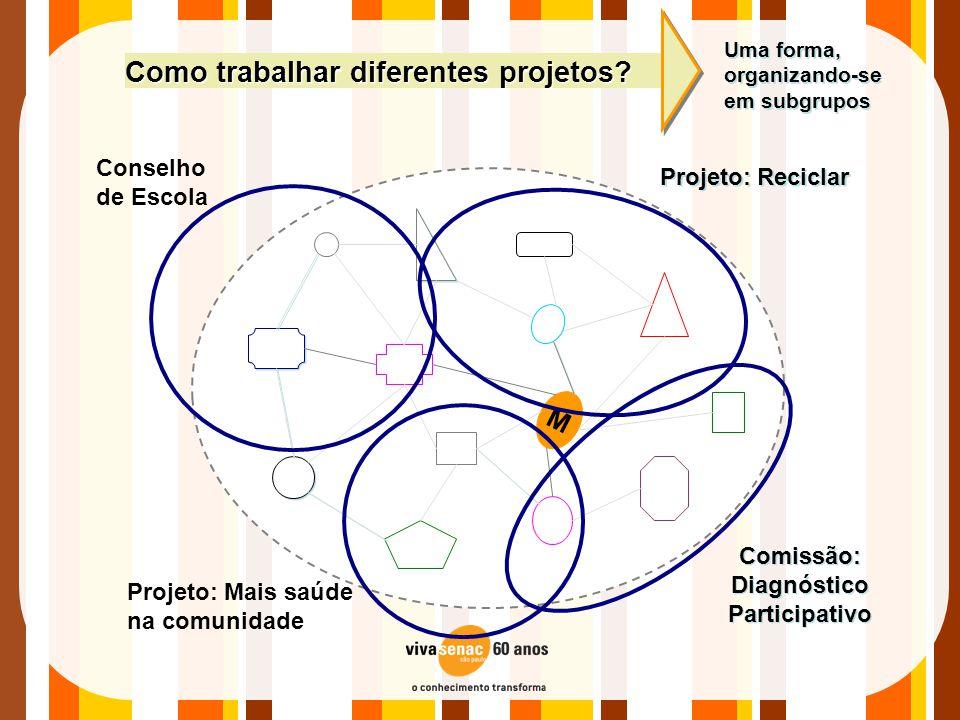 M Projeto: Reciclar Comissão: Diagnóstico Participativo Como trabalhar diferentes projetos? Uma forma, organizando-se em subgrupos Conselho de Escola