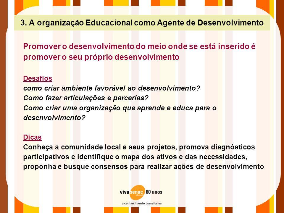 3. A organização Educacional como Agente de Desenvolvimento Promover o desenvolvimento do meio onde se está inserido é promover o seu próprio desenvol