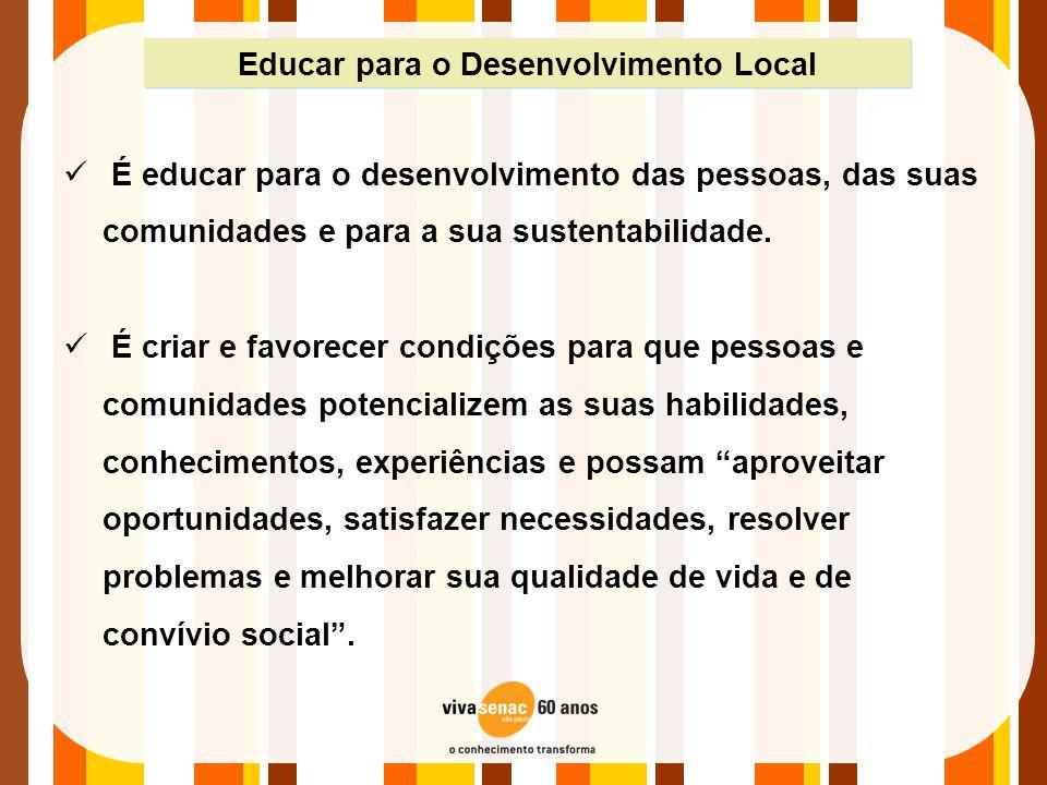 Educar para o Desenvolvimento Local  É educar para o desenvolvimento das pessoas, das suas comunidades e para a sua sustentabilidade.  É criar e fav