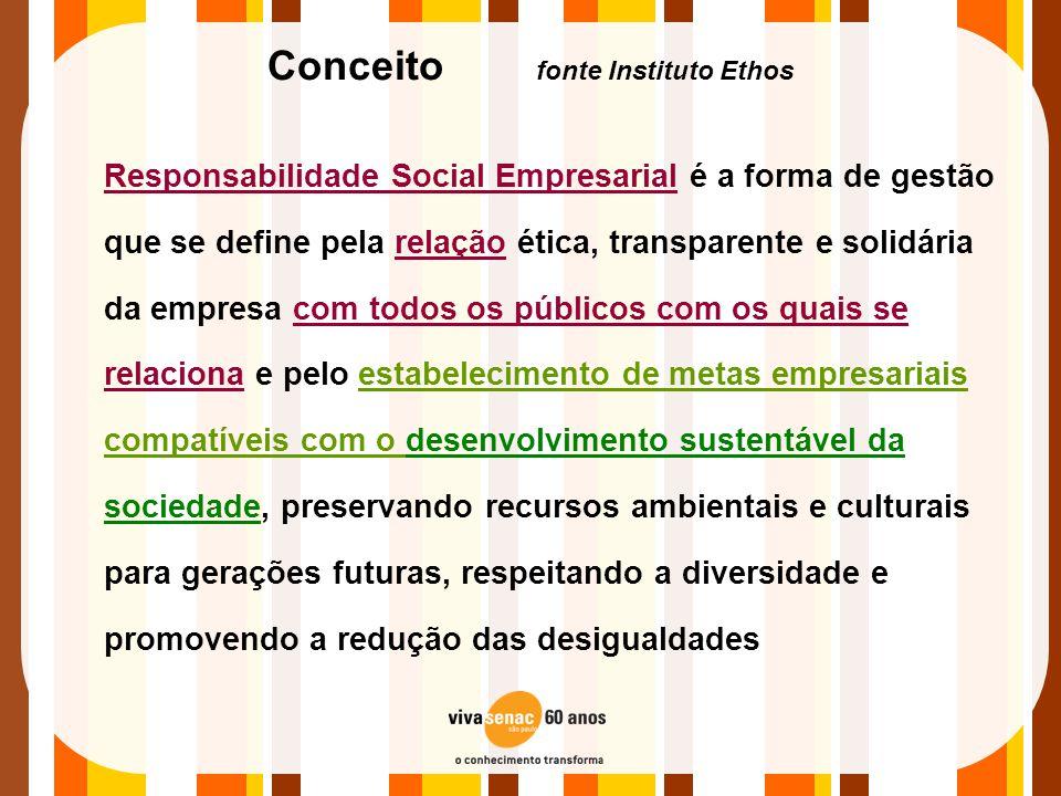 Conceito fonte Instituto Ethos Responsabilidade Social Empresarial é a forma de gestão que se define pela relação ética, transparente e solidária da e