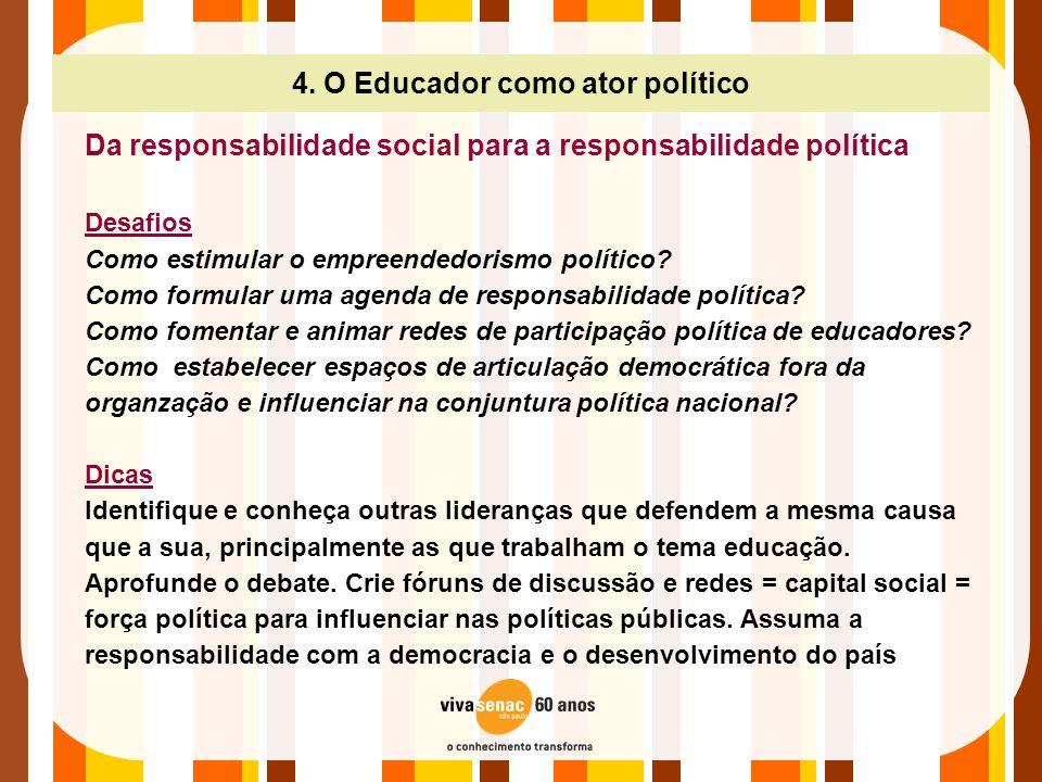 4. O Educador como ator político Da responsabilidade social para a responsabilidade política Desafios Como estimular o empreendedorismo político? Como