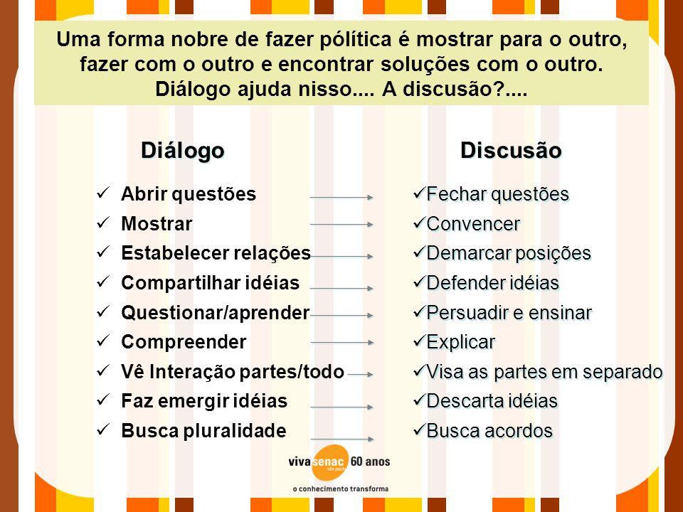 Uma forma nobre de fazer pólítica é mostrar para o outro, fazer com o outro e encontrar soluções com o outro. Diálogo ajuda nisso.... A discusão?....