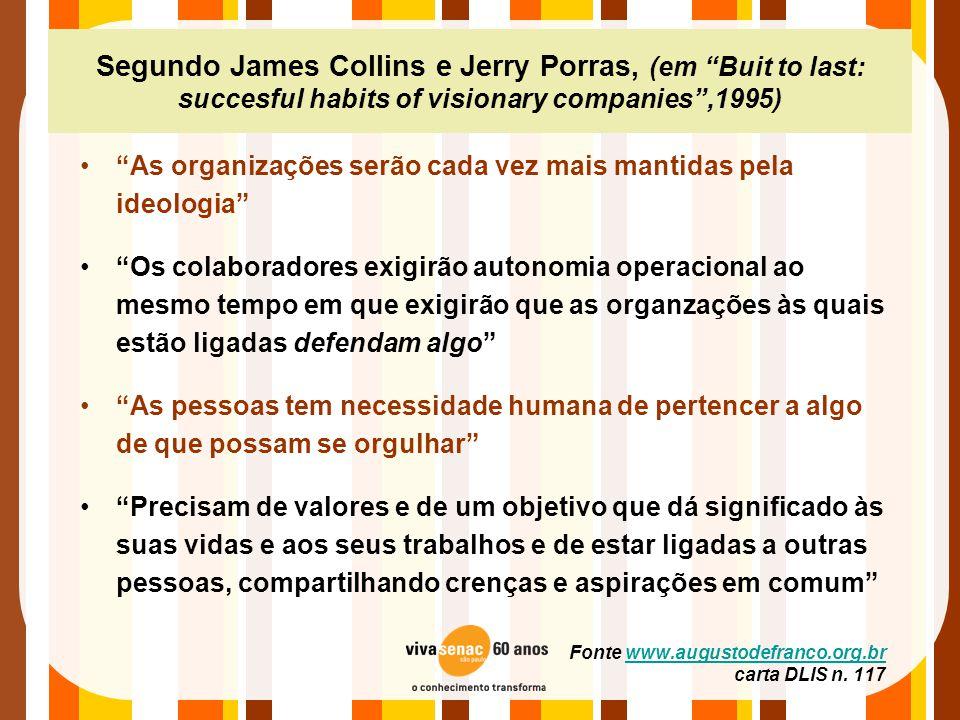 """Segundo James Collins e Jerry Porras, (em """"Buit to last: succesful habits of visionary companies"""",1995) •""""As organizações serão cada vez mais mantidas"""