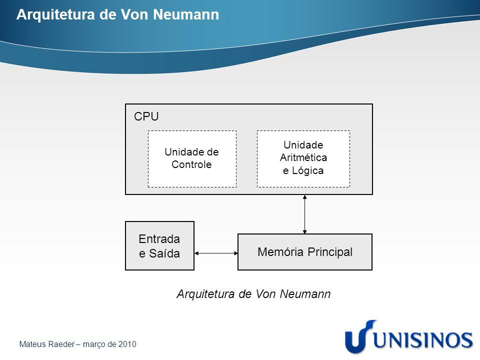 Mateus Raeder – março de 2010 Arquitetura de Von Neumann CPU Entrada e Saída Memória Principal Unidade de Controle Unidade Aritmética e Lógica Arquite