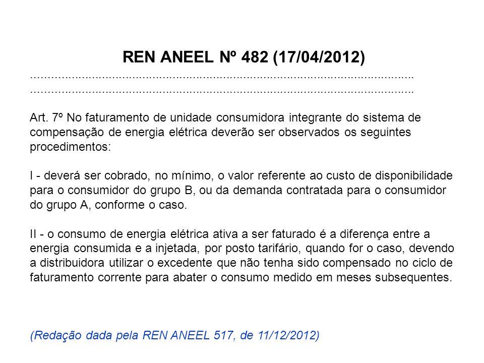 REN ANEEL Nº 482 (17/04/2012).................................................................................................................. Art. 7