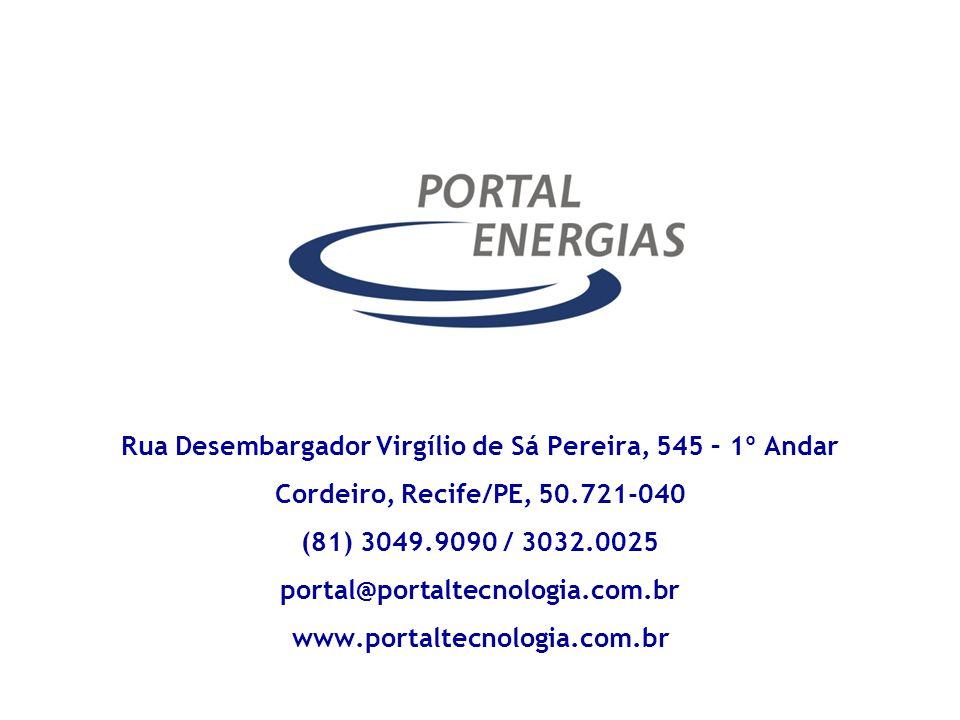 Rua Desembargador Virgílio de Sá Pereira, 545 – 1º Andar Cordeiro, Recife/PE, 50.721-040 (81) 3049.9090 / 3032.0025 portal@portaltecnologia.com.br www