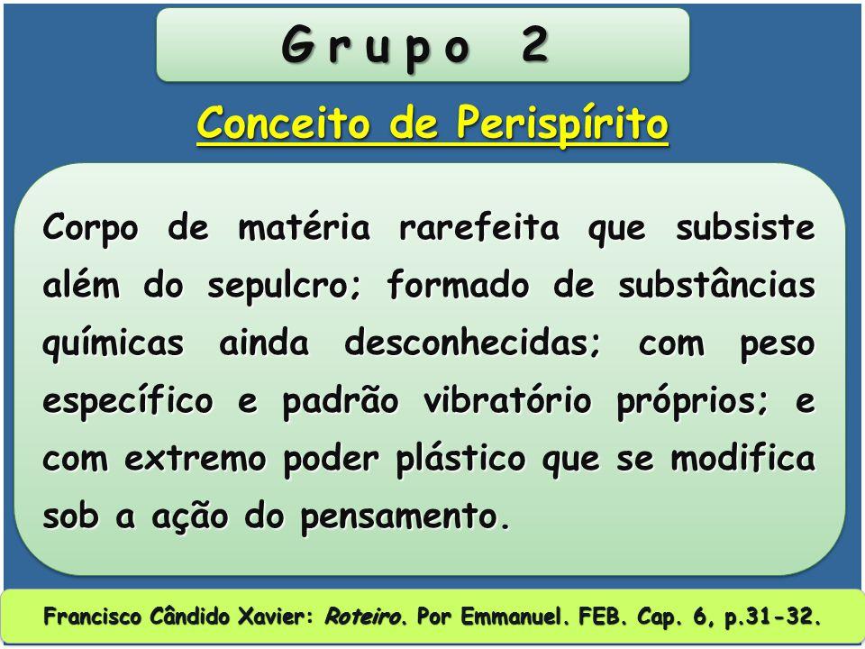 Grupo 1 É uma das partes essenciais do complexo humano, formado de fluidos relativamente primitivos; serve de mediador plástico entre o Espírito e o c