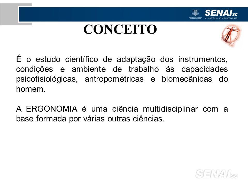 É o estudo científico de adaptação dos instrumentos, condições e ambiente de trabalho ás capacidades psicofisiológicas, antropométricas e biomecânicas