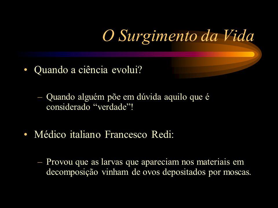 O Surgimento da Vida •Cientista francês Louis Pasteur: –Fazia experimentos sobre a origem dos microrganismos; –Experimento pescoço de cisne ; –Derrubou a idéia da geração espontânea.