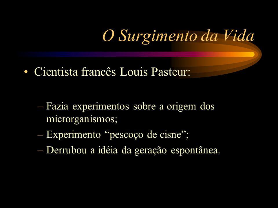 """O Surgimento da Vida •Cientista francês Louis Pasteur: –Fazia experimentos sobre a origem dos microrganismos; –Experimento """"pescoço de cisne""""; –Derrub"""