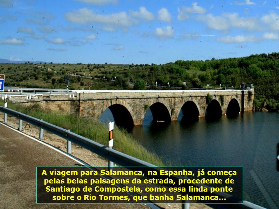 A viagem para Salamanca, na Espanha, já começa pelas belas paisagens da estrada, procedente de Santiago de Compostela, como essa linda ponte sobre o Rio Tormes, que banha Salamanca...