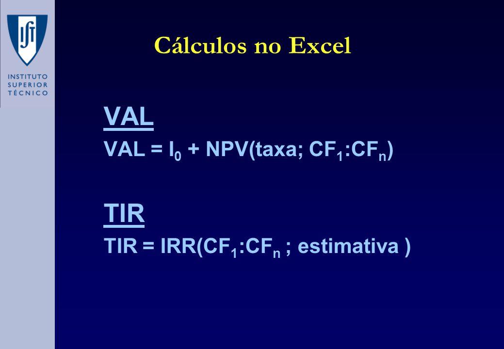 Cálculos no Excel VAL VAL = I 0 + NPV(taxa; CF 1 :CF n ) TIR TIR = IRR(CF 1 :CF n ; estimativa )