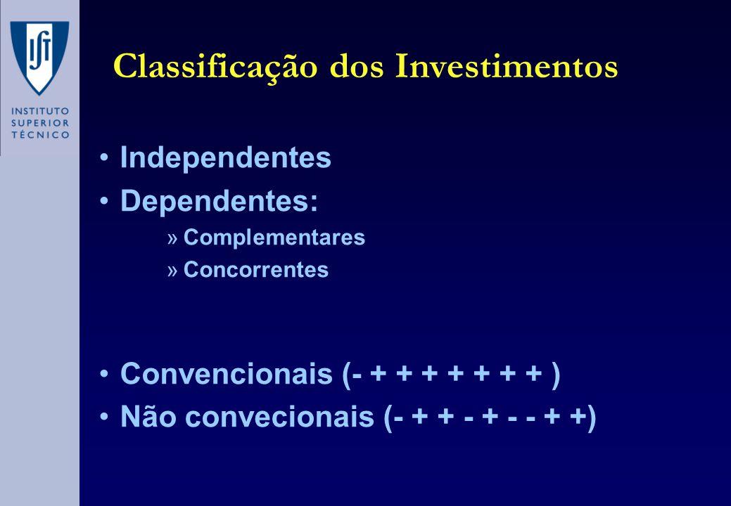 Classificação dos Investimentos •Independentes •Dependentes: »Complementares »Concorrentes •Convencionais (- + + + + + + + ) •Não convecionais (- + +