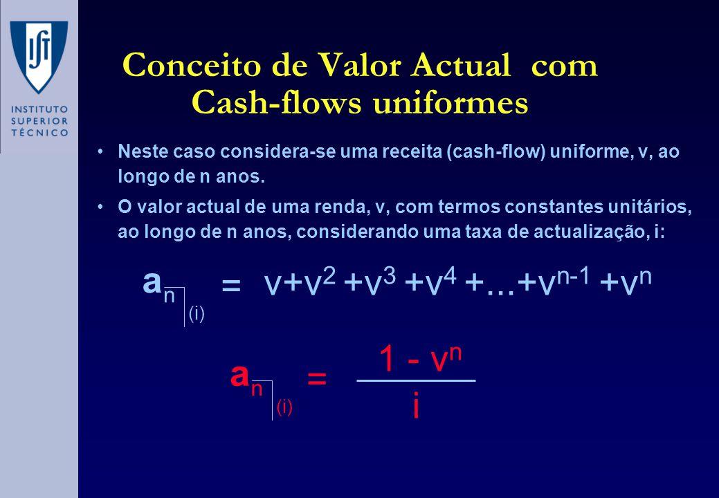 Conceito de Valor Actual com Cash-flows uniformes •Neste caso considera-se uma receita (cash-flow) uniforme, v, ao longo de n anos. •O valor actual de