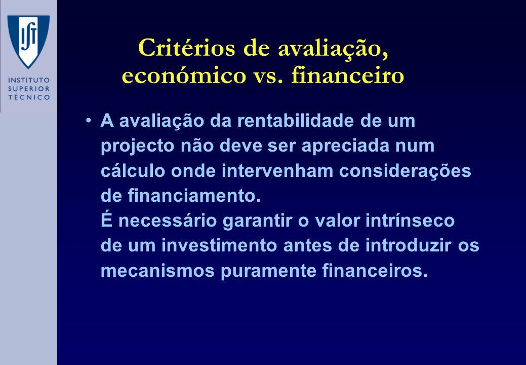 Critérios de avaliação, económico vs. financeiro •A avaliação da rentabilidade de um projecto não deve ser apreciada num cálculo onde intervenham cons