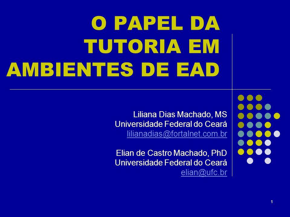 1 O PAPEL DA TUTORIA EM AMBIENTES DE EAD Liliana Dias Machado, MS Universidade Federal do Ceará lilianadias@fortalnet.com.br Elian de Castro Machado,