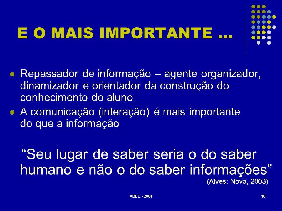 ABED - 200410 E O MAIS IMPORTANTE...  Repassador de informação – agente organizador, dinamizador e orientador da construção do conhecimento do aluno