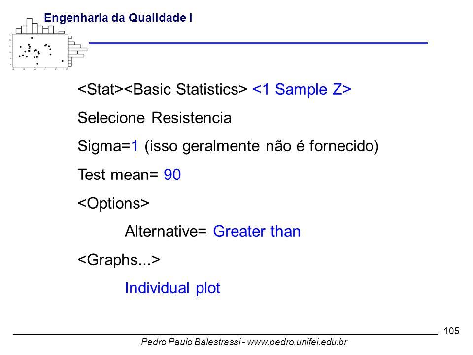Pedro Paulo Balestrassi - www.pedro.unifei.edu.br Engenharia da Qualidade I 105 Selecione Resistencia Sigma=1 (isso geralmente não é fornecido) Test mean= 90 Alternative= Greater than Individual plot