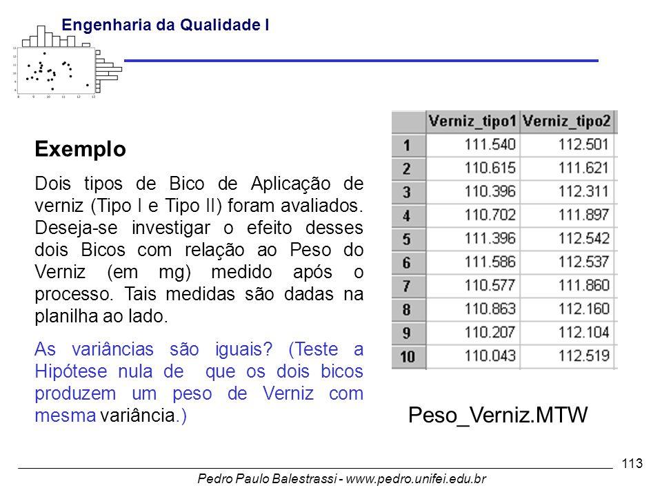 Pedro Paulo Balestrassi - www.pedro.unifei.edu.br Engenharia da Qualidade I 113 Exemplo Dois tipos de Bico de Aplicação de verniz (Tipo I e Tipo II) foram avaliados.