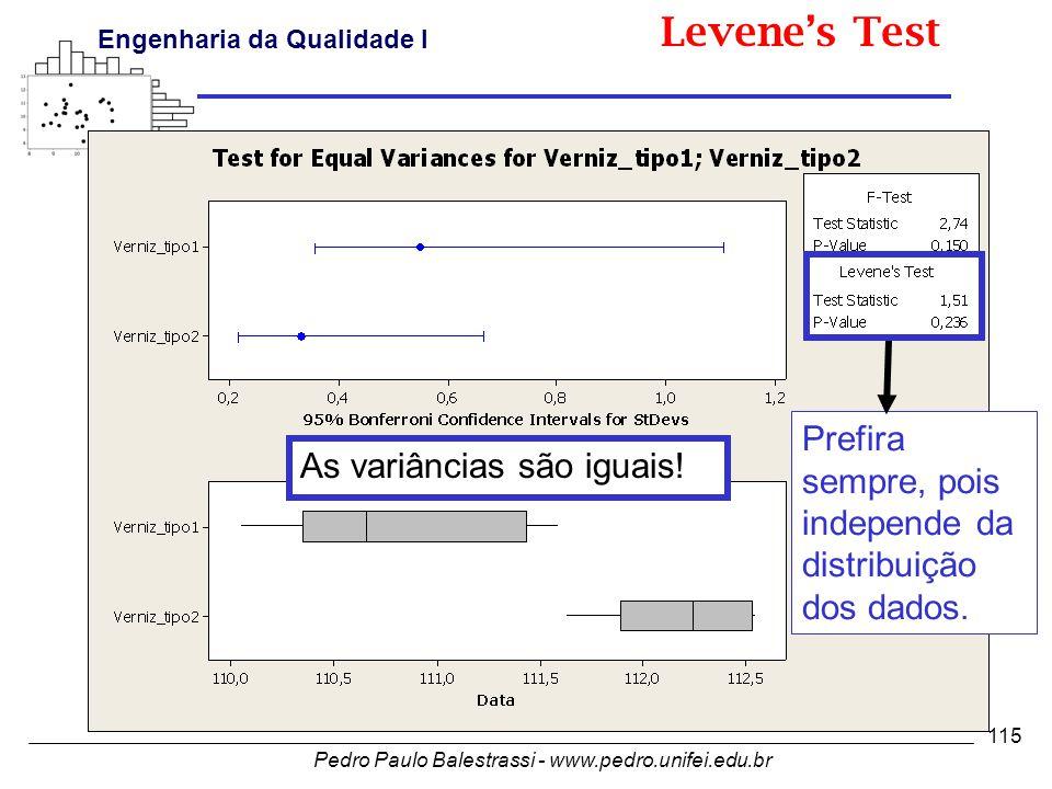 Pedro Paulo Balestrassi - www.pedro.unifei.edu.br Engenharia da Qualidade I 115 Prefira sempre, pois independe da distribuição dos dados.