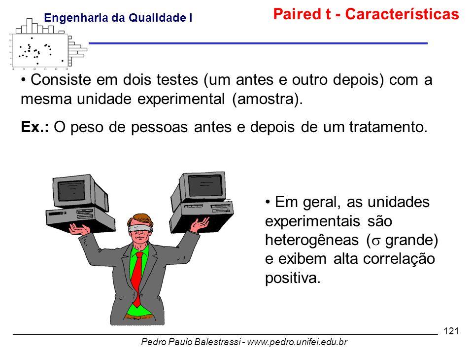 Pedro Paulo Balestrassi - www.pedro.unifei.edu.br Engenharia da Qualidade I 121 • Consiste em dois testes (um antes e outro depois) com a mesma unidade experimental (amostra).