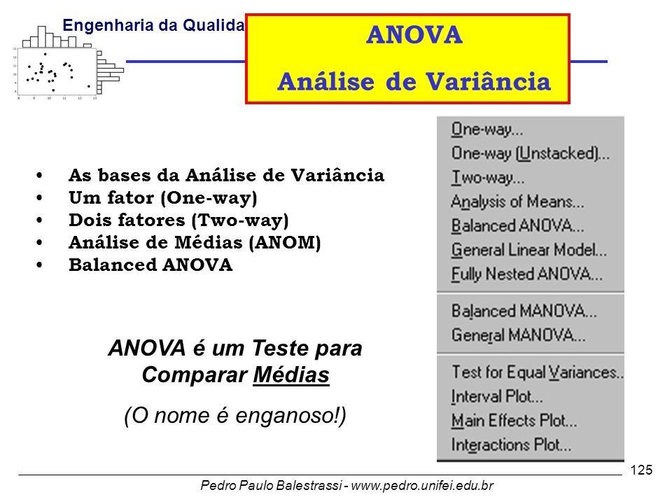 Pedro Paulo Balestrassi - www.pedro.unifei.edu.br Engenharia da Qualidade I 125 • As bases da Análise de Variância • Um fator (One-way) • Dois fatores (Two-way) • Análise de Médias (ANOM) • Balanced ANOVA ANOVA é um Teste para Comparar Médias (O nome é enganoso!) ANOVA Análise de Variância