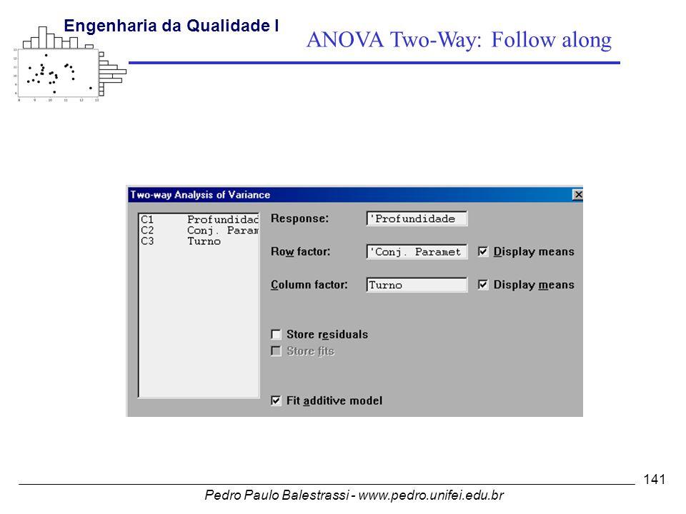 Pedro Paulo Balestrassi - www.pedro.unifei.edu.br Engenharia da Qualidade I 141 ANOVA Two-Way: Follow along