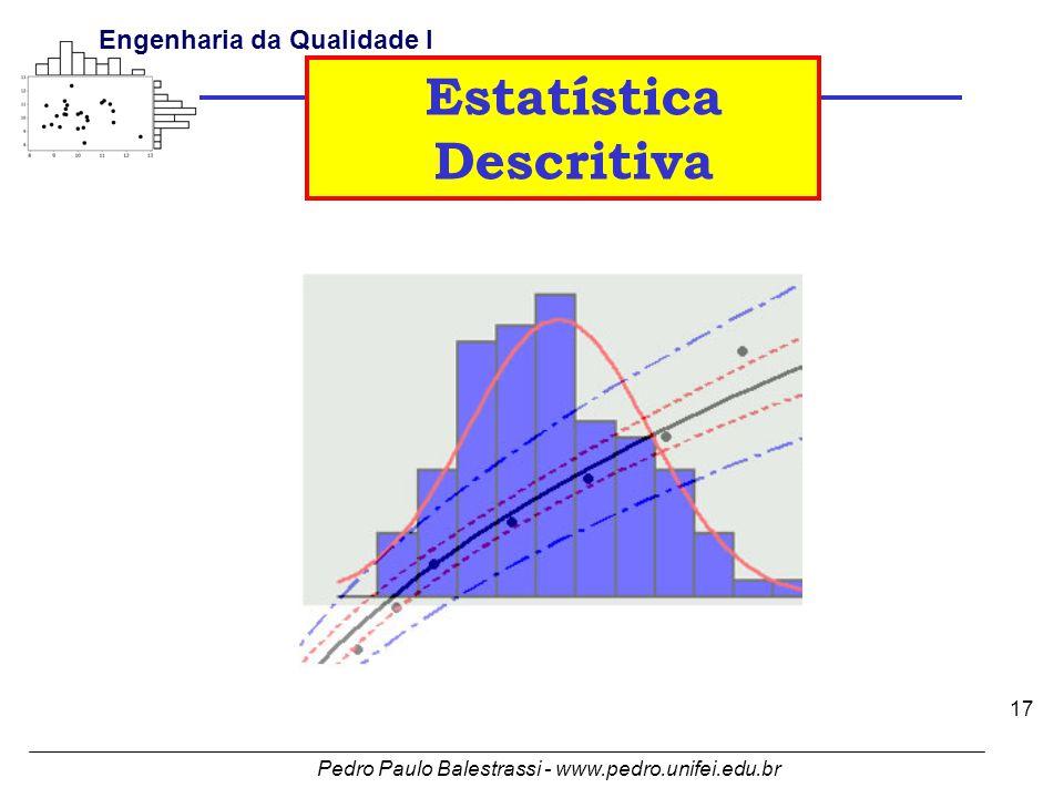 Pedro Paulo Balestrassi - www.pedro.unifei.edu.br Engenharia da Qualidade I 17 Estatística Descritiva