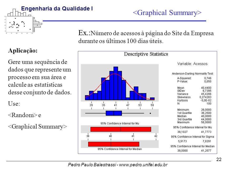 Pedro Paulo Balestrassi - www.pedro.unifei.edu.br Engenharia da Qualidade I 22 Aplicação: Gere uma sequência de dados que represente um processo em sua área e calcule as estatísticas desse conjunto de dados.