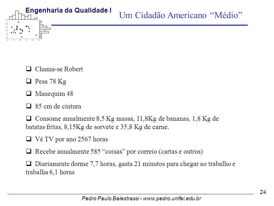 Pedro Paulo Balestrassi - www.pedro.unifei.edu.br Engenharia da Qualidade I 24  Chama-se Robert  Pesa 78 Kg  Manequim 48  85 cm de cintura  Consome anualmente 8,5 Kg massa, 11,8Kg de bananas, 1,8 Kg de batatas fritas, 8,15Kg de sorvete e 35,8 Kg de carne.