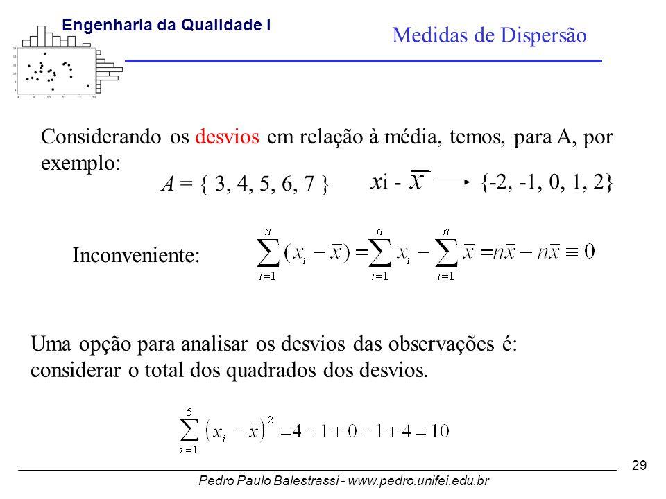 Pedro Paulo Balestrassi - www.pedro.unifei.edu.br Engenharia da Qualidade I 29 Considerando os desvios em relação à média, temos, para A, por exemplo: A = { 3, 4, 5, 6, 7 } x i - {-2, -1, 0, 1, 2} Medidas de Dispersão Inconveniente: Uma opção para analisar os desvios das observações é: considerar o total dos quadrados dos desvios.