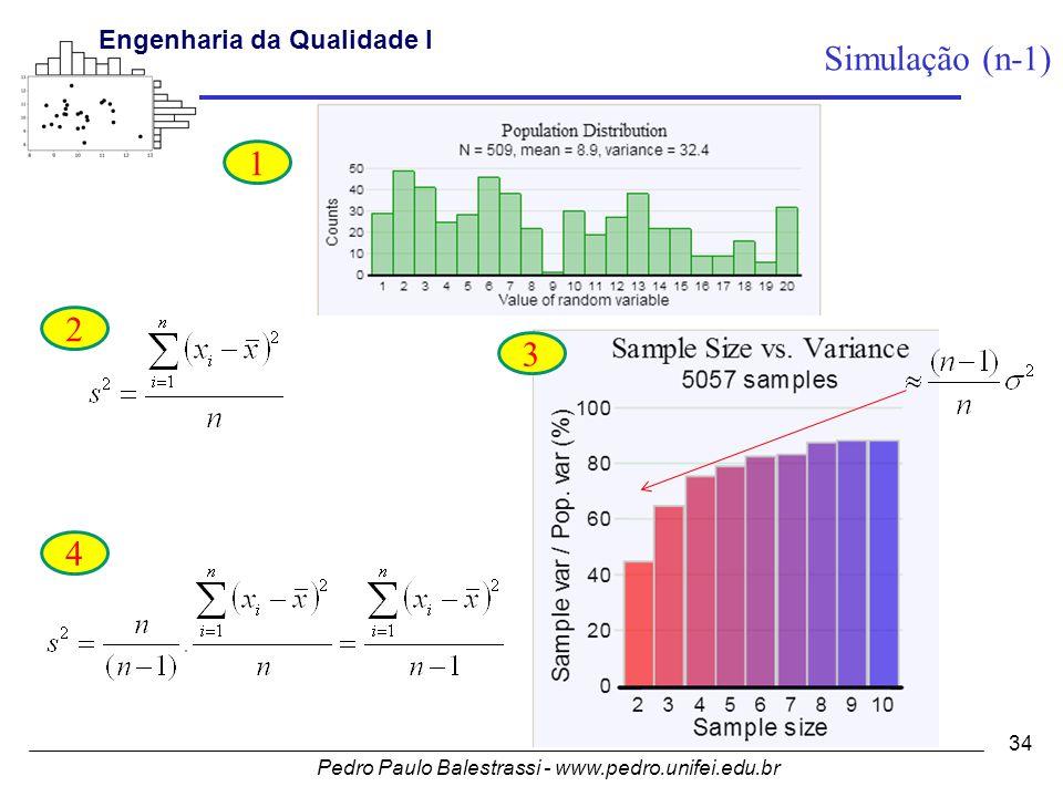 Pedro Paulo Balestrassi - www.pedro.unifei.edu.br Engenharia da Qualidade I 34 1 2 3 4 Simulação (n-1)