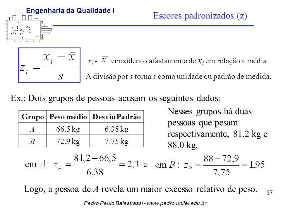 Pedro Paulo Balestrassi - www.pedro.unifei.edu.br Engenharia da Qualidade I 37 Escores padronizados (z) GrupoPeso médioDesvio Padrão A66.5 kg6.38 kg B72.9 kg7.75 kg Ex.: Dois grupos de pessoas acusam os seguintes dados: x i - considera o afastamento de x i em relação à média.