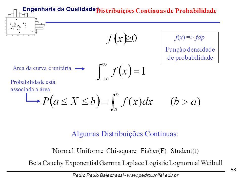 Pedro Paulo Balestrassi - www.pedro.unifei.edu.br Engenharia da Qualidade I 58 Algumas Distribuições Contínuas: Normal Uniforme Chi-square Fisher(F) Student(t) Beta Cauchy Exponential Gamma Laplace Logistic Lognormal Weibull f(x) => fdp Função densidade de probabilidade Área da curva é unitária Probabilidade está associada a área Distribuições Contínuas de Probabilidade