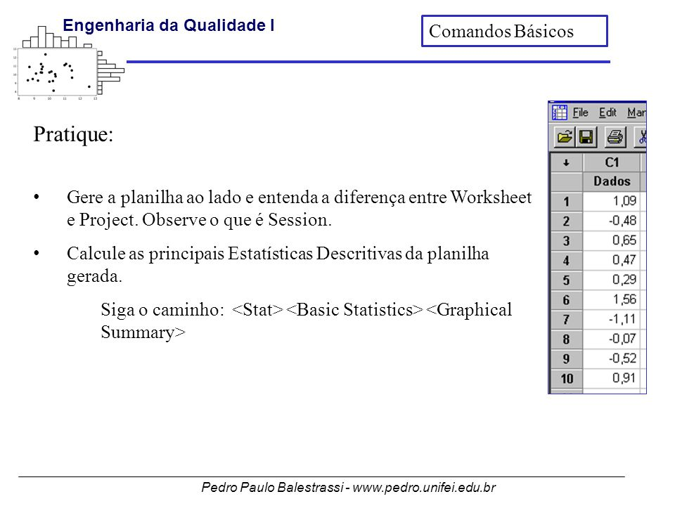 Pedro Paulo Balestrassi - www.pedro.unifei.edu.br Engenharia da Qualidade I Pratique: • Gere a planilha ao lado e entenda a diferença entre Worksheet e Project.