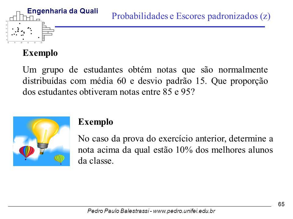 Pedro Paulo Balestrassi - www.pedro.unifei.edu.br Engenharia da Qualidade I 65 Probabilidades e Escores padronizados (z) Exemplo Um grupo de estudantes obtém notas que são normalmente distribuídas com média 60 e desvio padrão 15.